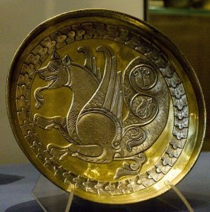 Sassanid silver plate of a simurgh (Sēnmurw), 7th or 8th century CE by Nickmard Khoey