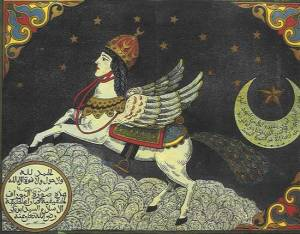 A Buraq seen on a reproduction of a 17th-century Indian Mughal miniature