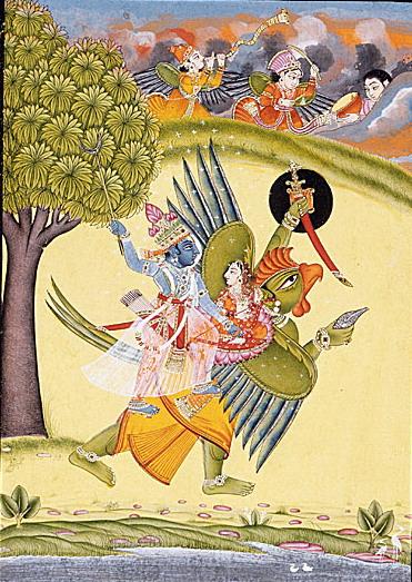 """Garuda Vishnu Laxmi"" by Unknown artist from Bundi, Rajasthan, India - From LACMA [1]Gift of Jane Greenough Green in memory of Edward Pelton Green (AC1999.127.32). Licensed under Public Domain via Wikimedia Commons"