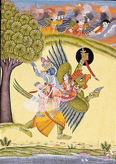 """Garuda Vishnu Laxmi"" by Unknown artist from Bundi, Rajasthan, India - From LACMA [1]Gift of Jane Greenough Green in memory of Edward Pelton Green (AC1999.127.32). Licensed under Public Domain via Wikimedia Commons"