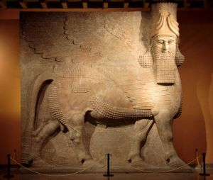 Assyrian Lamassu at the Oriental Institute Museum at the University of Chicago.