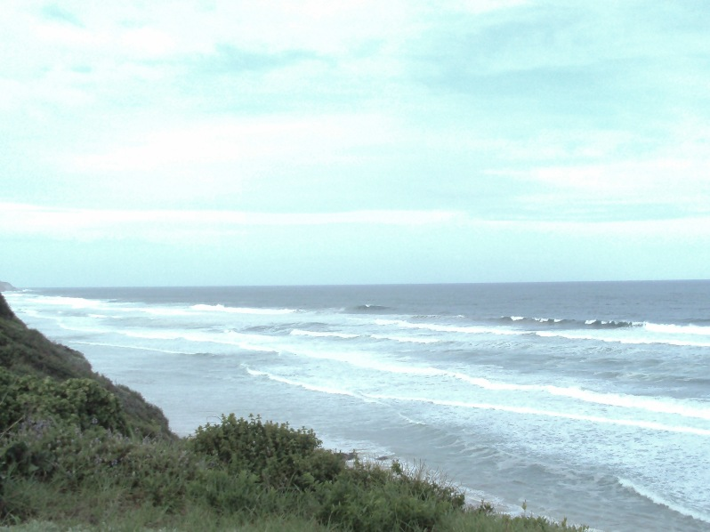 Dana Bay, ocean, view, washed out colour