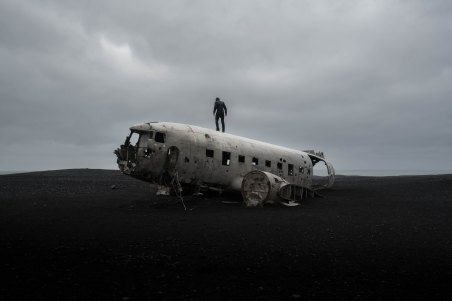 Photo of man on crashed plane