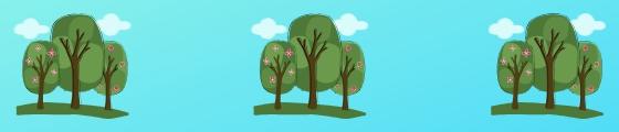 Blog banner trees on blue backgrounds