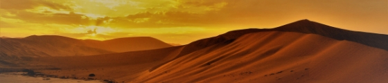 Blog banner showing sand dunes with sunset