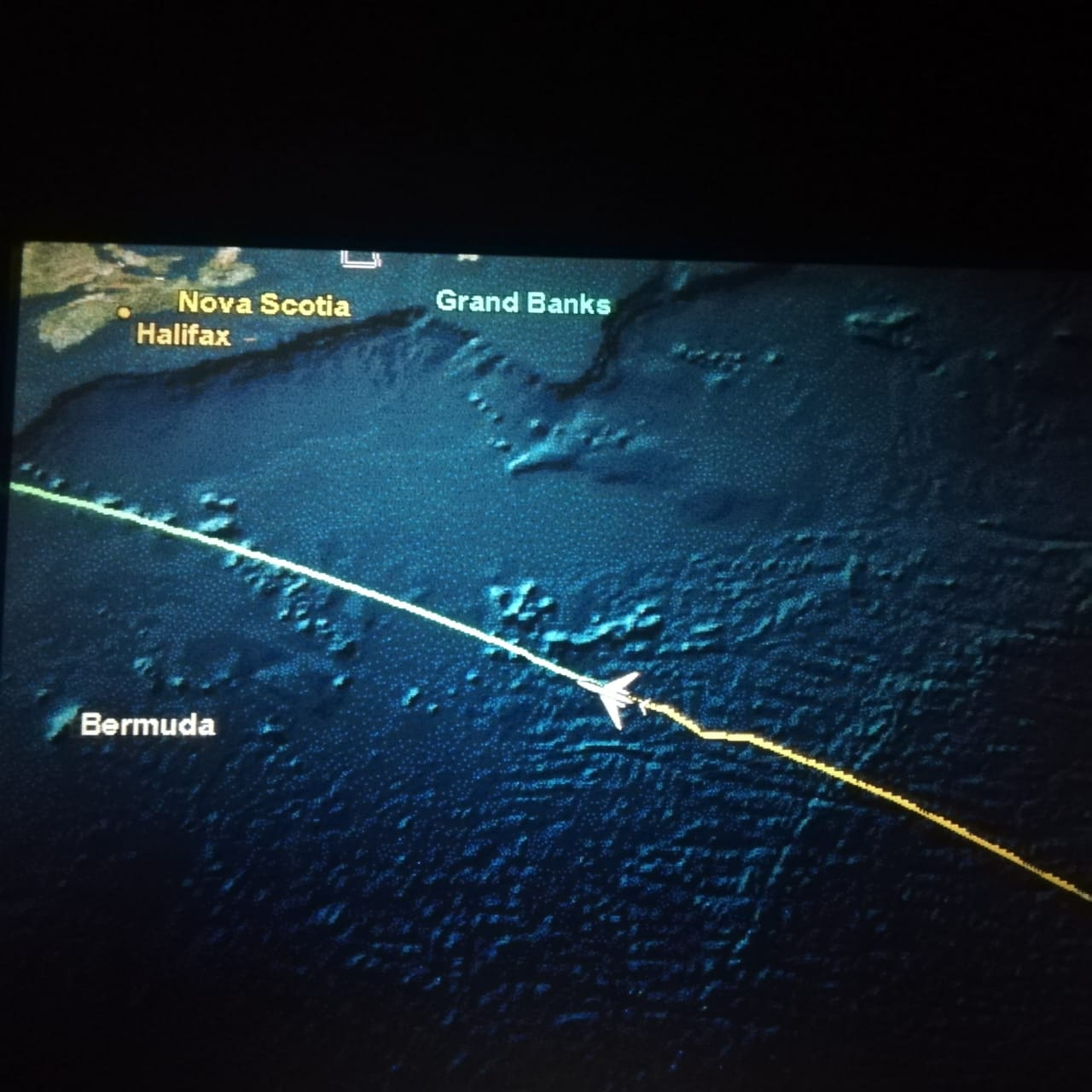 Photo showing a flight path on a screen.