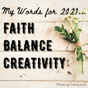 Background with white flowers and the words 'My words for 2021 - Faith, Balance, Creativity'